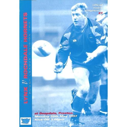 1997 Lancashire Lynx, v Rochdale Hornets Rugby League Programme