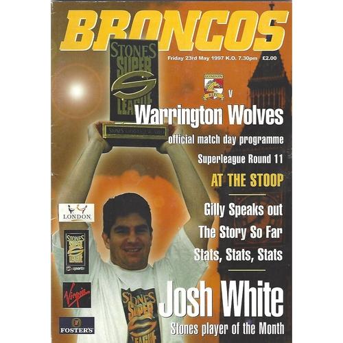 1997 London Broncos v Warrington Wolves Rugby League Programme
