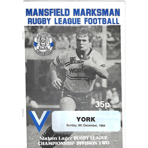 1984/85 Mansfield Marksman v York Rugby League Programme