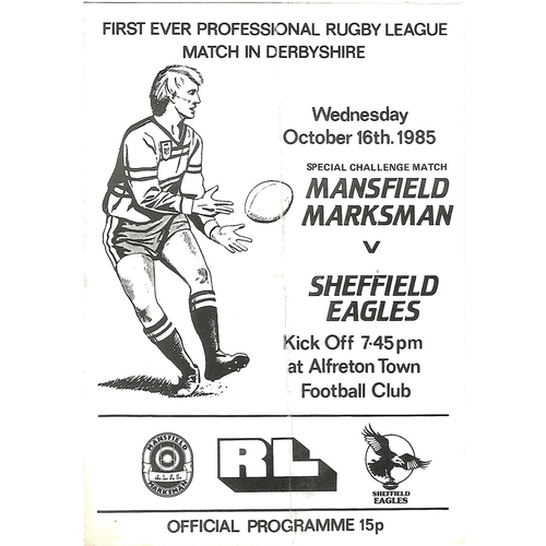 Mansfield Marksman Home Rugby League Programmes