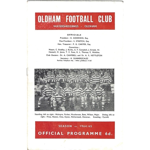 1964/65 Oldham v Wigan Rugby League Programme