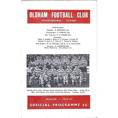 1964/65 Oldham v St. Helens Rugby League Programme