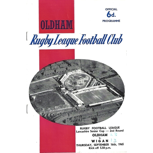 1965/66 Oldham v Wigan Lancashire Senior Cup 2nd Round Rugby League Programme