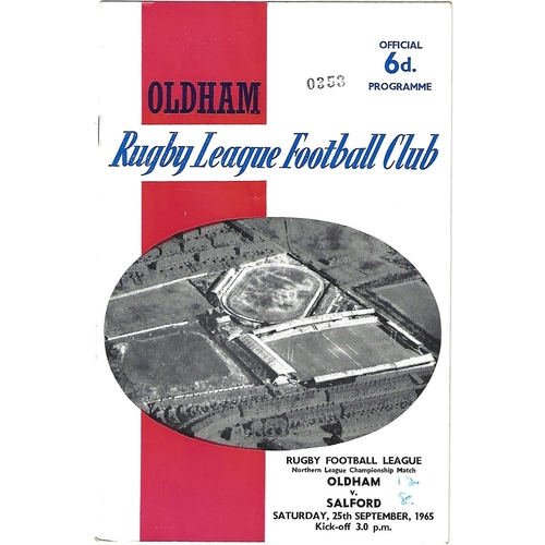 1965/66 Oldham v Salford Rugby League Programme