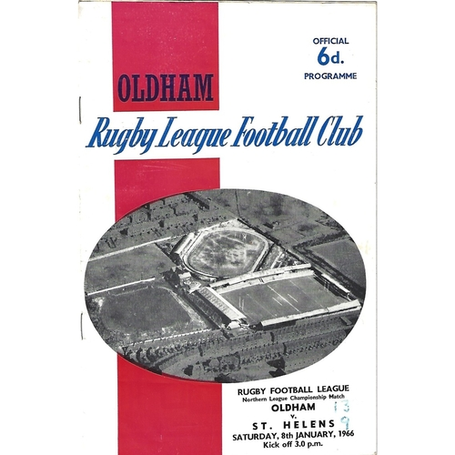 1965/66 Oldham v St. Helens Rugby League Programme