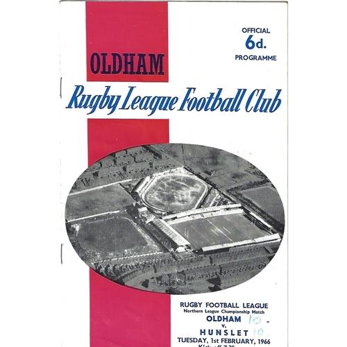 1965/66 Oldham v Hunslet Rugby League Programme