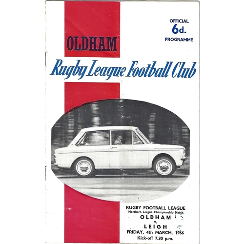 1965/66 Oldham v Leigh Rugby League Programme