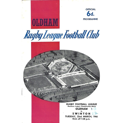1965/66 Oldham v Swinton Rugby League Programme