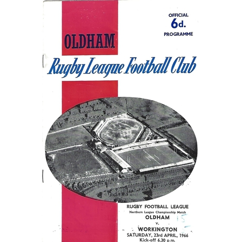1965/66 Oldham v Workington Town Rugby League Programme