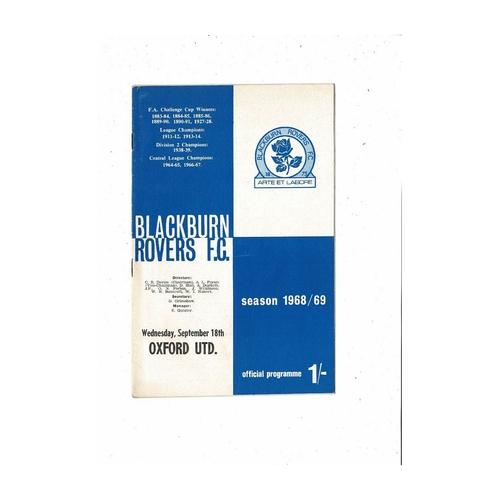 1968/69 Blackburn Rovers v Oxford United Football Programme