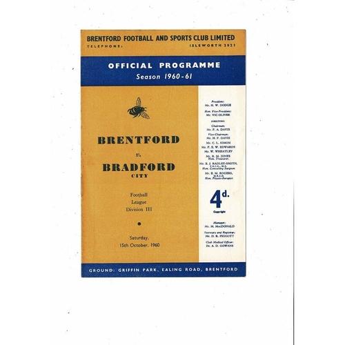 1960/61 Brentford v Bradford City Football Programme