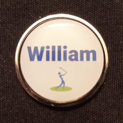 Men's Personalised 30mm Ball Marker - Nickel + Epoxy Dome