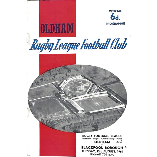 1966/67 Oldham v Blackpool Borough Rugby League Programme