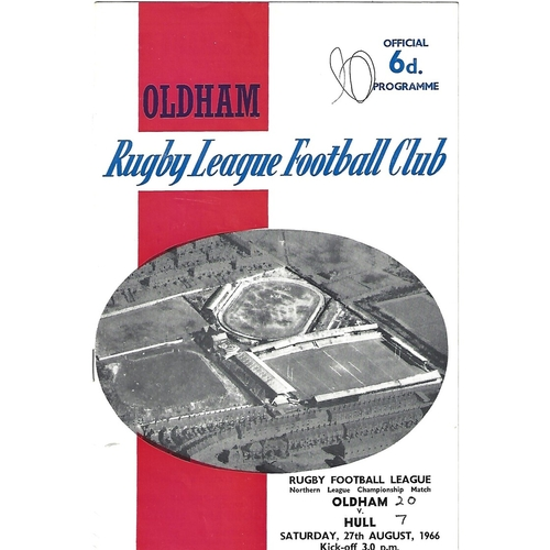 1966/67 Oldham v Hull Rugby League Programme