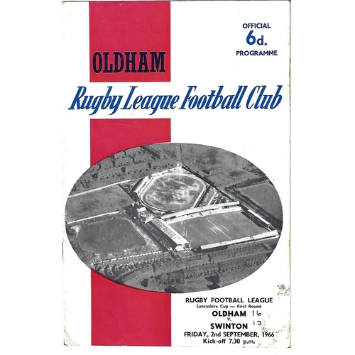 1966/67 Oldham v Swinton Lancashire Cup 1st Round Rugby League Programme
