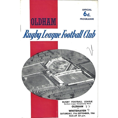 1966/67 Oldham v Whitehaven Rugby League Programme
