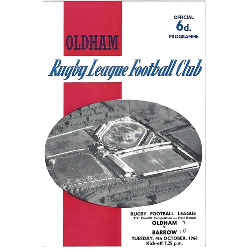 1966/67 Oldham v Barrow BBC T.V Floodlit Competition 1st Round Rugby League Programme