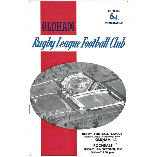 1966/67 Oldham v Rochdale Hornets Rugby League Programme