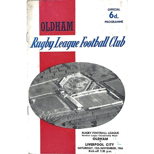 1966/67 Oldham v Liverpool City Rugby League Programme