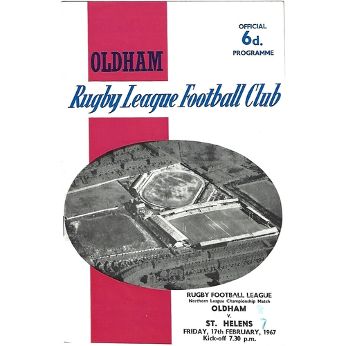 1966/67 Oldham v St. Helens Rugby League Programme