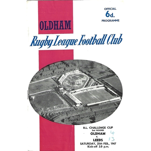 1966/67 Oldham v Leeds Rugby League Challenge Cup 2nd Round Programme