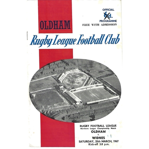 1966/67 Oldham v Widnes Rugby League Programme