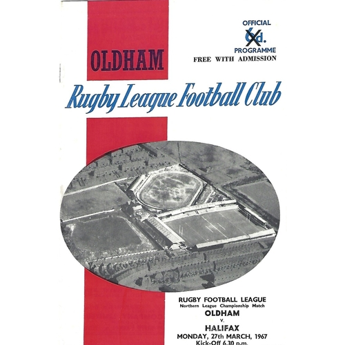 1966/67 Oldham v Halifax Rugby League Programme