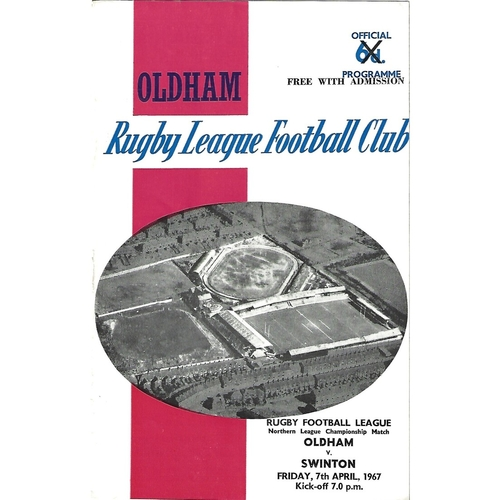 1966/67 Oldham v Swinton Rugby League Programme