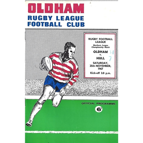1967/68 Oldham v Hull Rugby League Programme