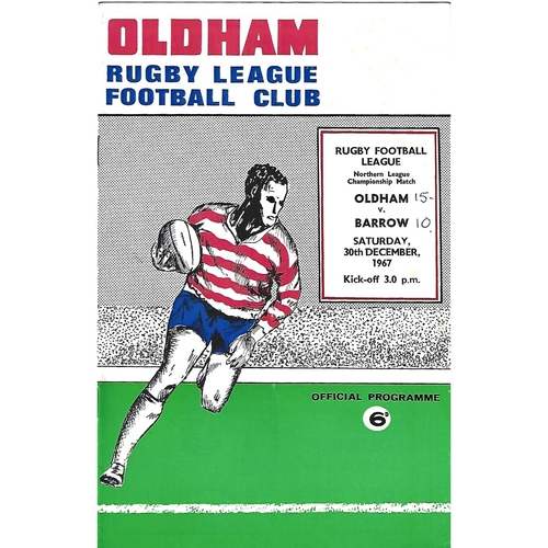 1967/68 Oldham v Barrow Rugby League Programme