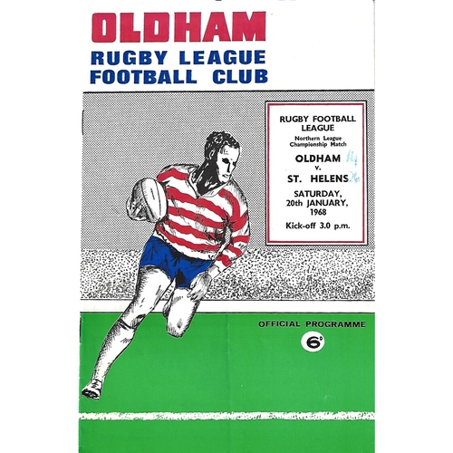 1967/68 Oldham v St, Helens Rugby League Programme