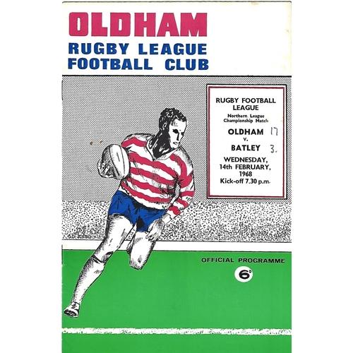 1967/68 Oldham v Batley Rugby League Programme
