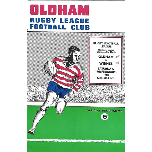 1967/68 Oldham v Widnes Rugby League Programme