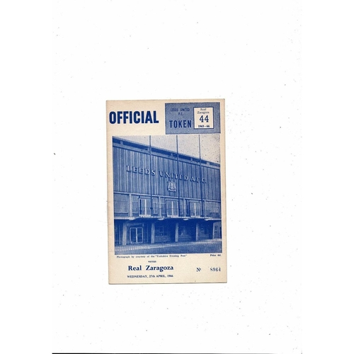 1966 Leeds United v Real Zaragoza UEFA Fairs Cup Semi Final Football Programme April