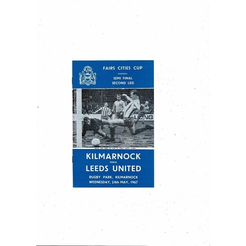 1967 Kilmarnock v Leeds United UEFA Fairs Cup Semi Final Football Programme