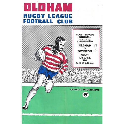 1967/68 Oldham v Swinton Rugby League Programme