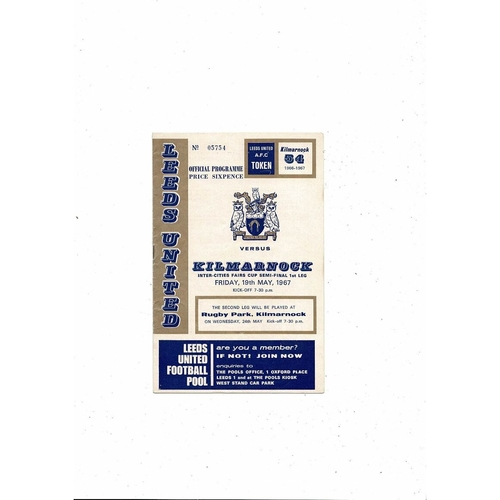 1967 Leeds United v Kilmarnock UEFA Fairs Cup Semi Final Football Programmes