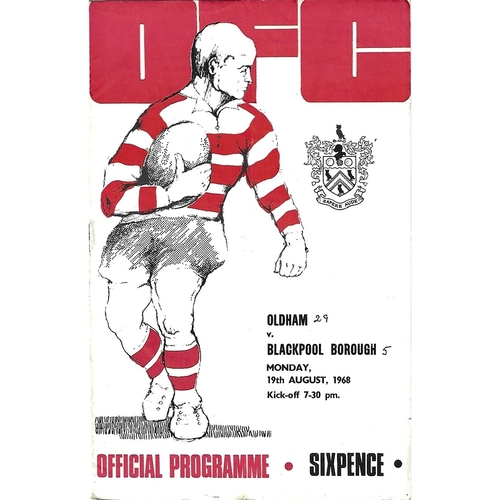 1968/69 Oldham v Blackpool Borough Rugby League Programme