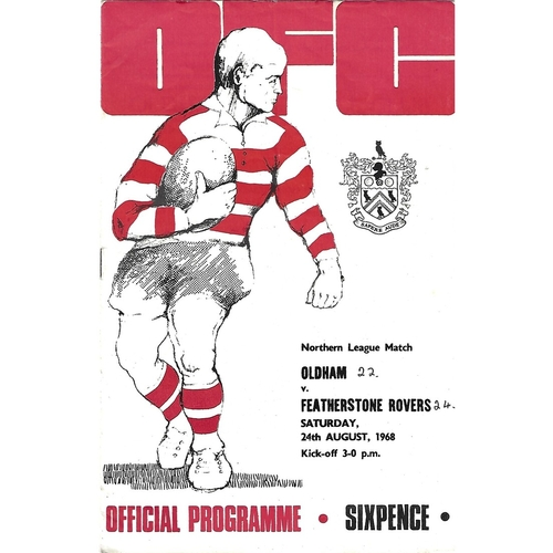 1968/69 Oldham v Featherstone Rovers Rugby League Programme