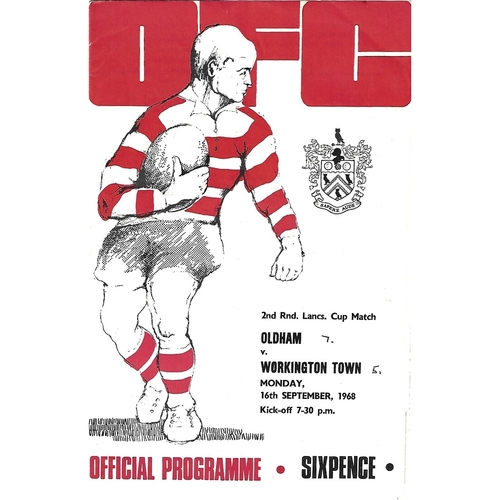 1968/69 Oldham v Workington Town Lancashire Cup 2nd Round Rugby League Programme