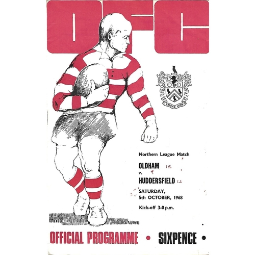 1968/69 Oldham v Huddersfield Rugby League Programme