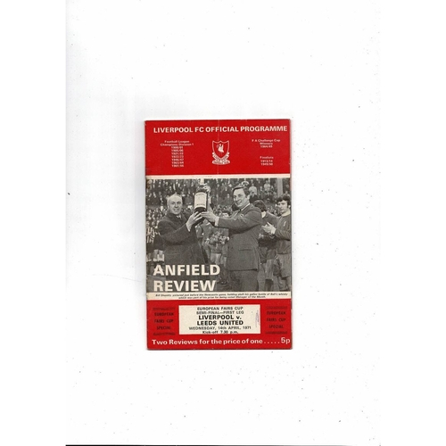 1971 Liverpool v Leeds United UEFA Fairs Cup Semi Final Football Programme + League Review