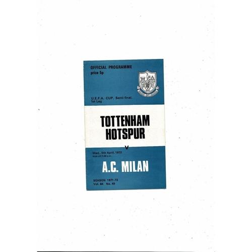 1972 Tottenham Hotspur v AC Milan UEFA Fairs Cup Semi Final Football Programme