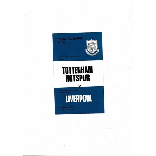 1973 Tottenham Hotspur v Liverpool UEFA Fairs Cup Semi Final Football Programme