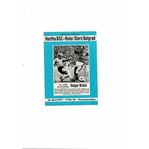 1979 Hertha BSC v Red Star Belgrade UEFA Fairs Cup Semi Final Football Programme