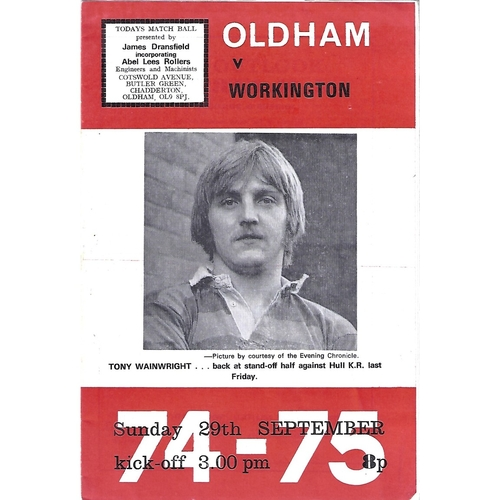 1974/75 Oldham v Workington Town Rugby League Programme