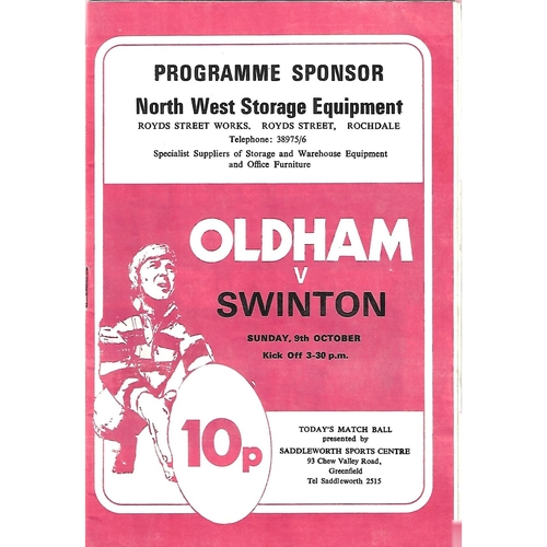 1977/78 Oldham v Swinton Rugby League Programme & Team Sheet