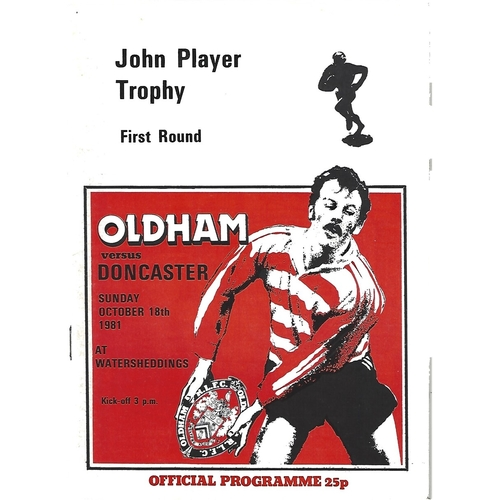 1981/82 Oldham v Doncaster John Player Trophy 1st Round Rugby League Programme