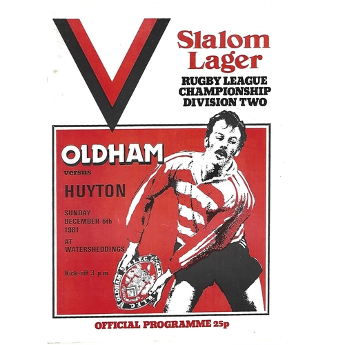 1981/82 Oldham v Huyton Rugby League Programme