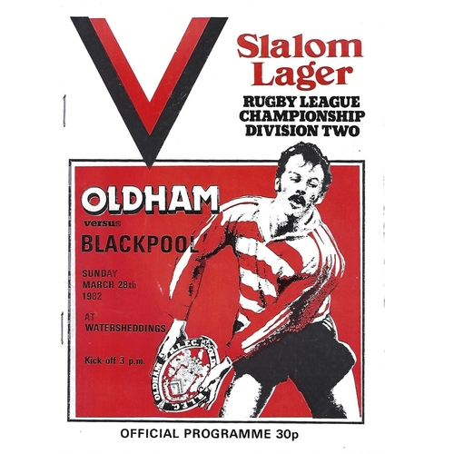 1981/82 Oldham v Blackpool Borough Rugby League Programme